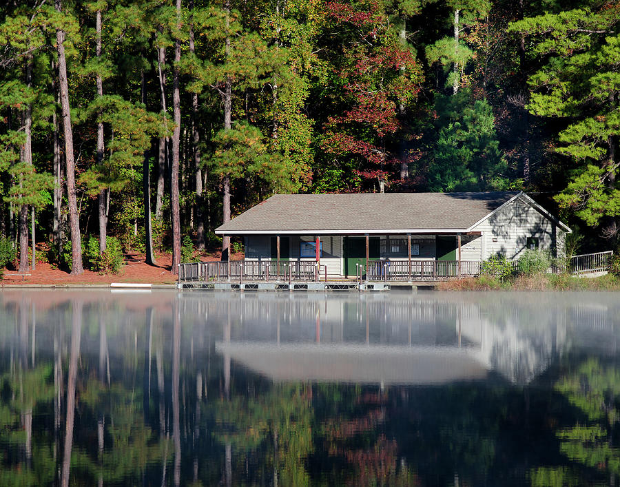 Mist Photograph - Misty Reflection At Durant by George Randy Bass