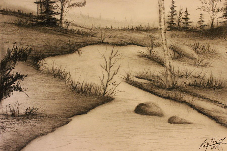 Drawings Drawing - Misty River by Ricky Haug