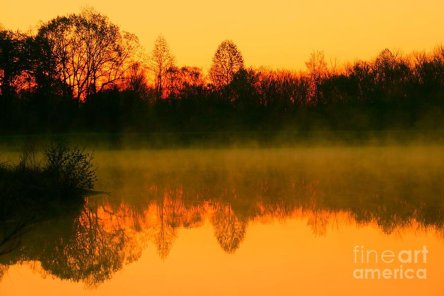 Golden Dawn Photograph - Misty Sunrise by Morgan Hill
