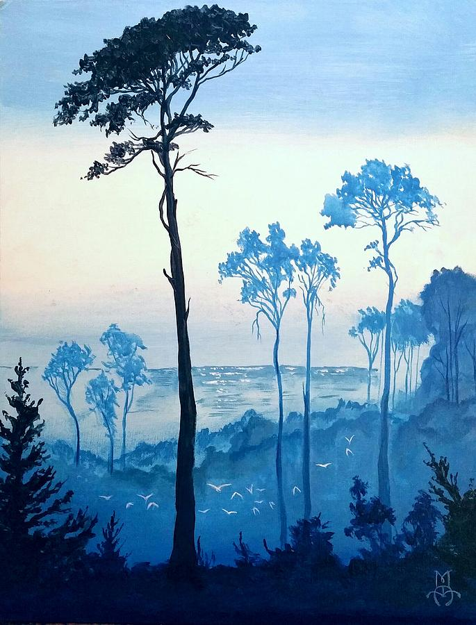 Misty Trees Painting