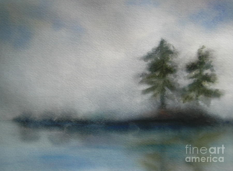 Landscape Painting - Misty Waters by Vivian  Mosley