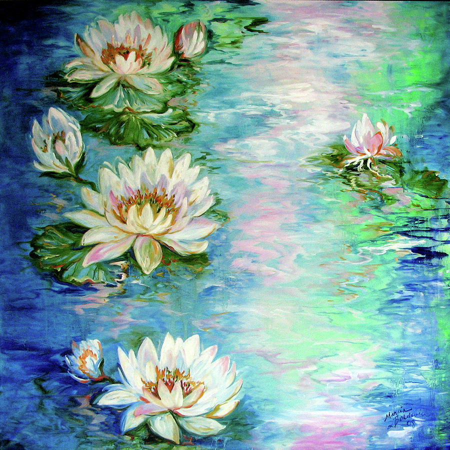 MISTY WATERS WATERLILY POND by Marcia Baldwin