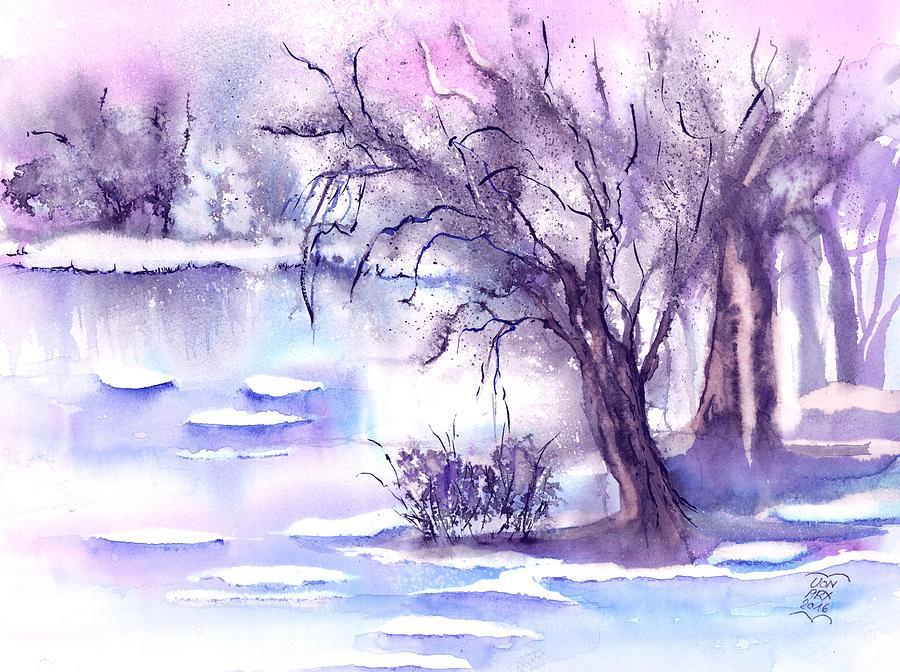 Mist Painting - Misty Winter at a frozen Pond by Sabina Von Arx