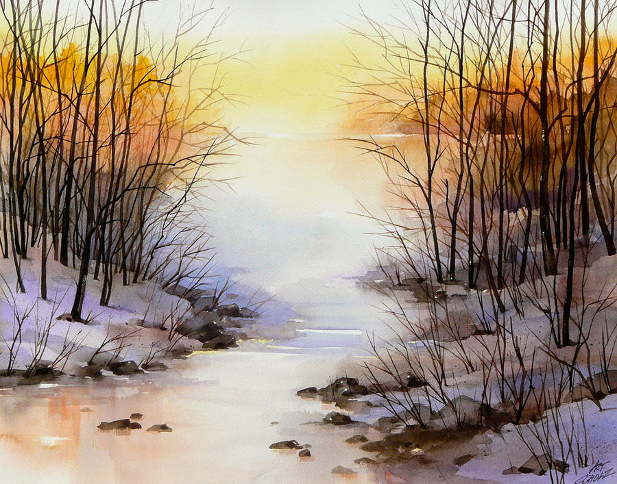 Misty Winter Stream Painting by Art Scholz