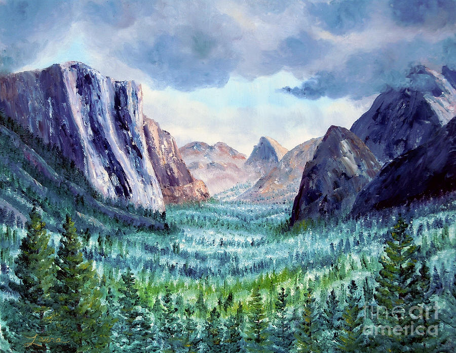 California Painting - Misty Yosemite Valley by Laura Iverson