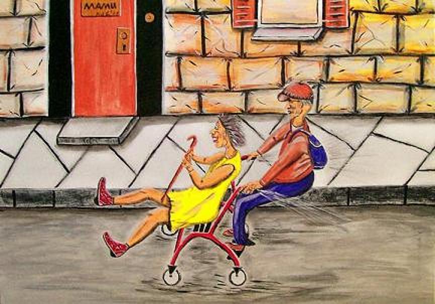 Menschen Painting - Mit Volldampf Ins Leben by Mamu Art