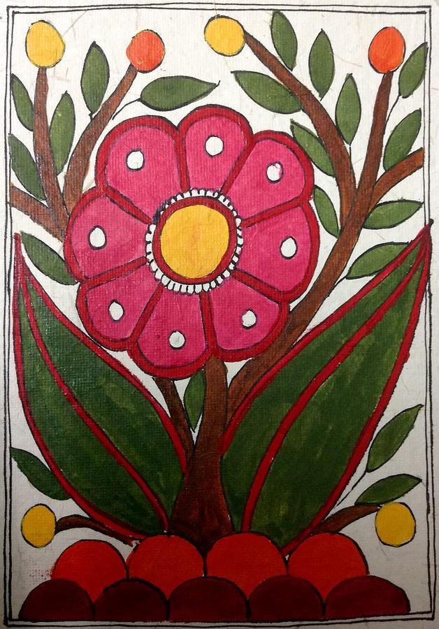 Madhubani Painting - Mithila Bloom by Vidushini Prasad