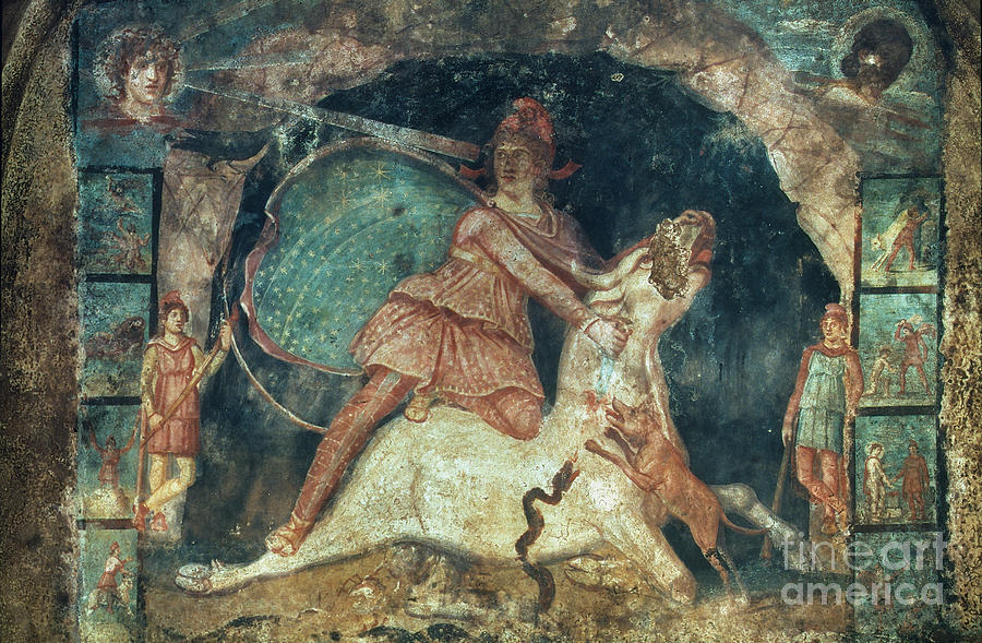 2nd Century Painting - Mithras Killing The Bull by Granger