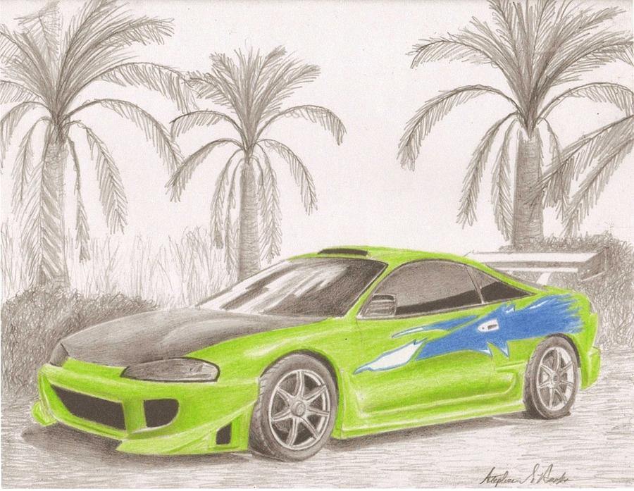 Charmant Automobile Drawings Drawing Mitsubishi Eclipse From Fast And The  Furious Sports Car Art Print By