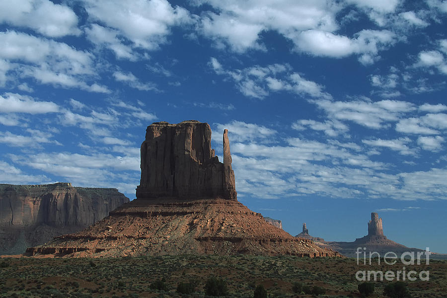 Arizona Photograph - Mitten Under A Perfect Sky by Stan and Anne Foster