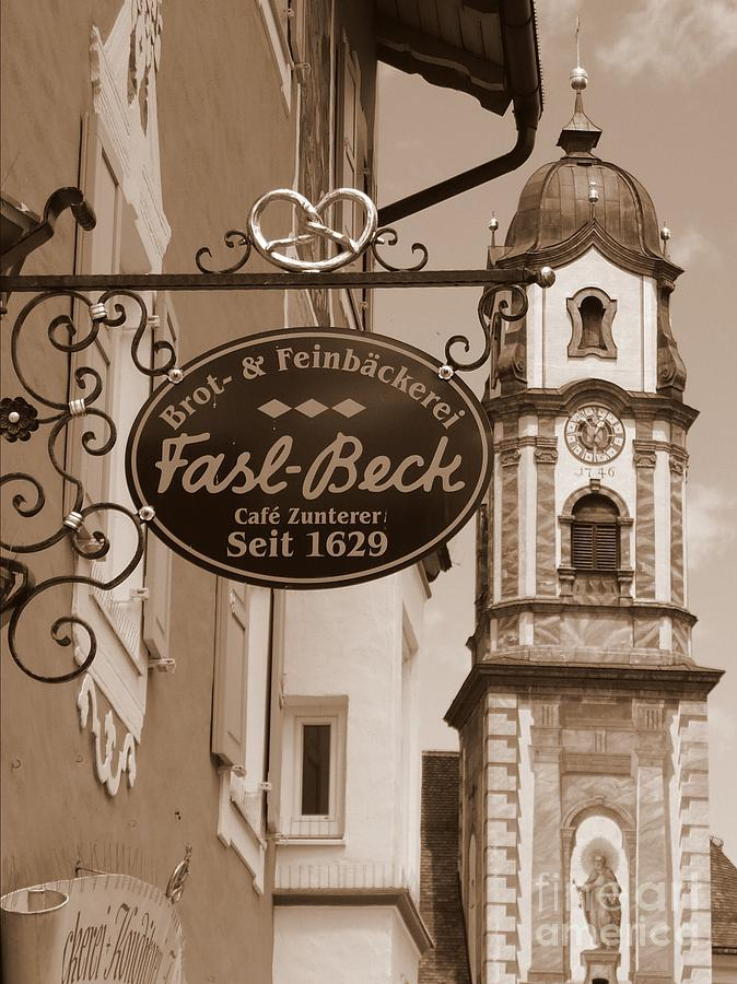 Mittenwald Photograph - Mittenwald Cafe Sign In Sepia by Carol Groenen