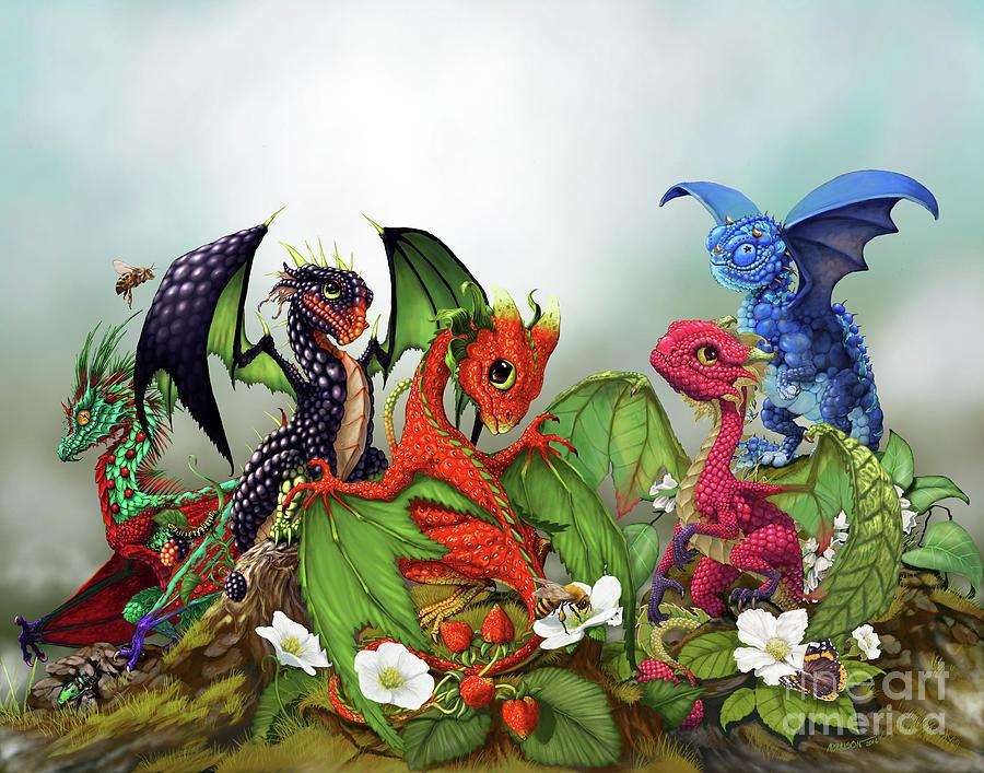 Dragons Digital Art - Mixed Berries Dragons by Stanley Morrison