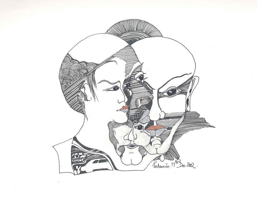 Heads Drawing - Mixed Identities by Padamvir Singh