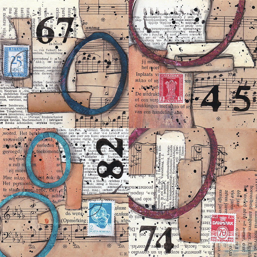 Mixed Media Collage Numbers by Kitty Van den Heuvel