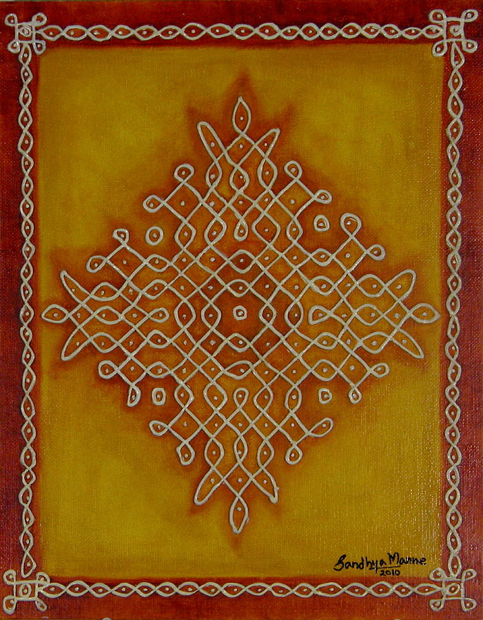 Painting Canvas Prints Mixed Media - Mixed Media Kolam One by Sandhya Manne