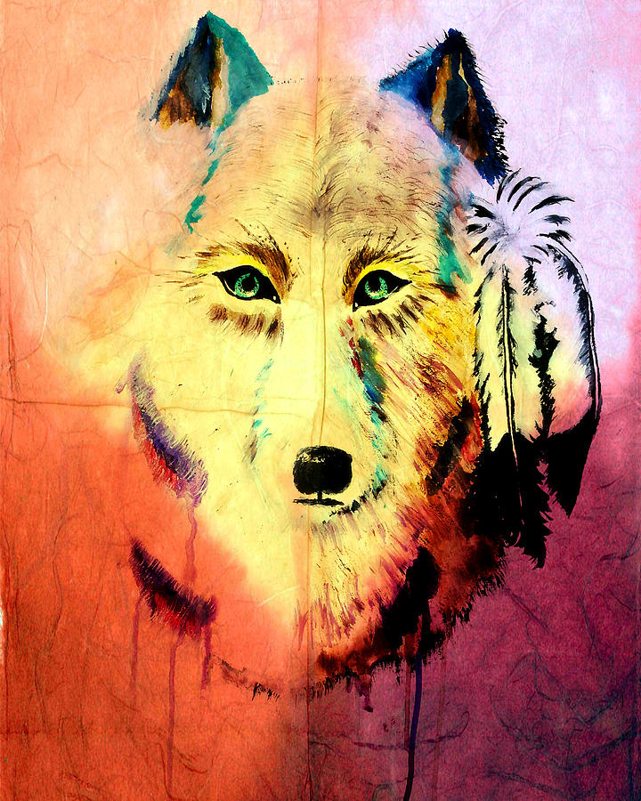 Mixed Media Painting Of Spirit Of The Wolf 2 By Ayasha Loya Painting