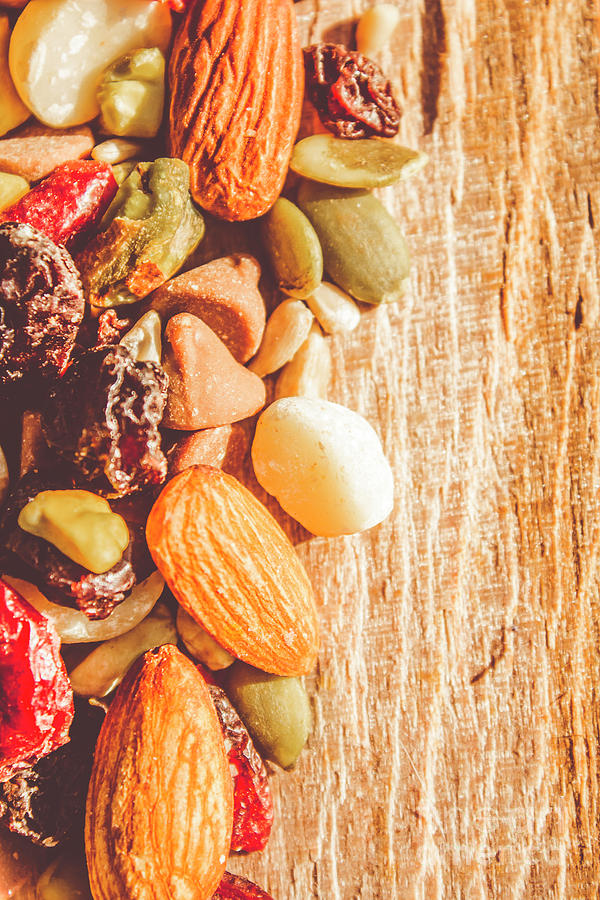 Nuts Photograph - Mixed Nuts On Wooden Background by Jorgo Photography - Wall Art Gallery