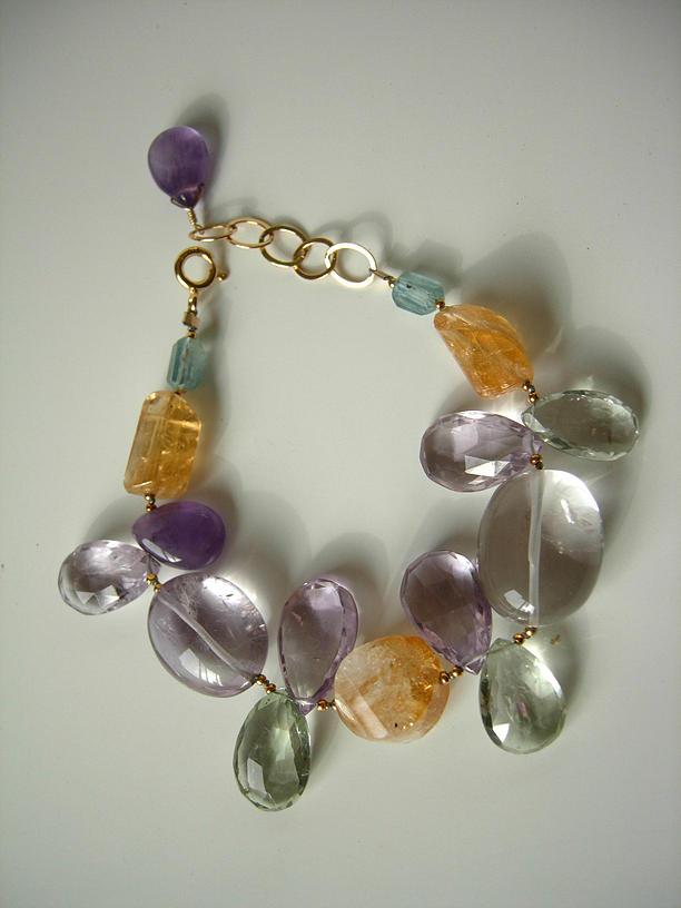 Citrine Jewelry - Mixed Quartz And Gem Bracelet by Adove  Fine Jewelry