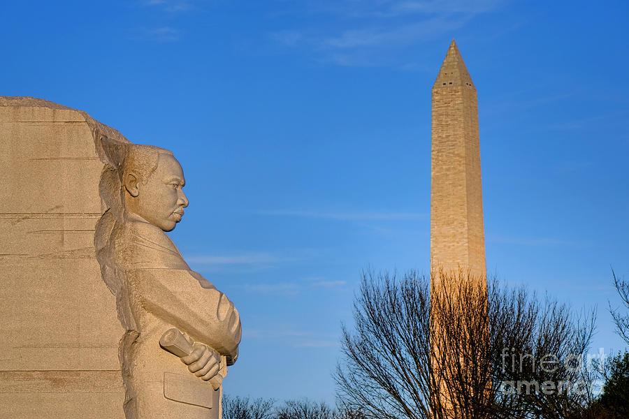 Washington Photograph - Mlk And Washington Monuments by Olivier Le Queinec