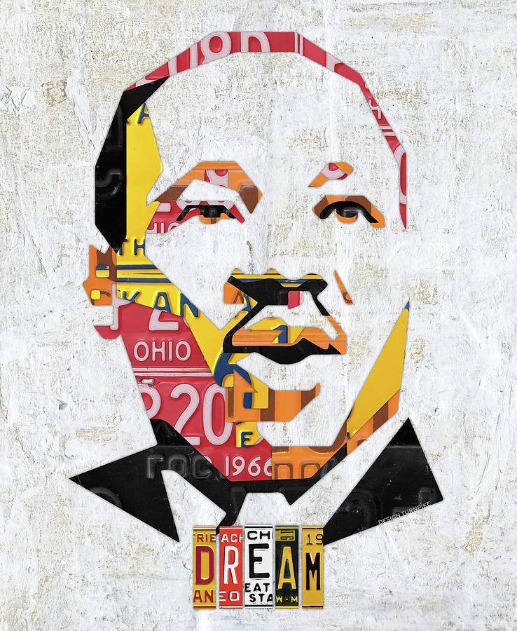 Mlk Mixed Media - Mlk Dream Portrait In License Plates By Design Turnpike by Design Turnpike