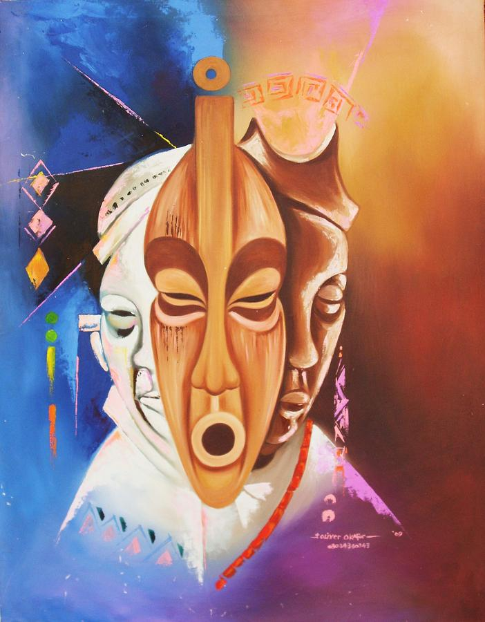 Faces Painting - Mmuo Mmadu Faces by Eziagulu Chukwunonso