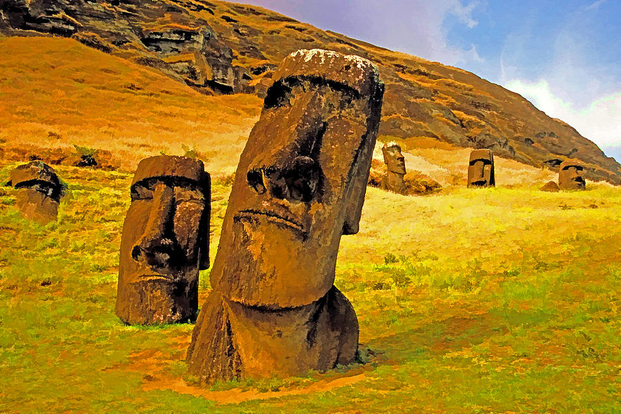 Rano Raraku Photograph - Moai by Dennis Cox