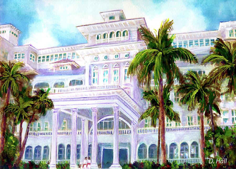 Waikiki Beach Painting - Moana Surfrider Hotel On Waikiki Beach #206 by Donald k Hall