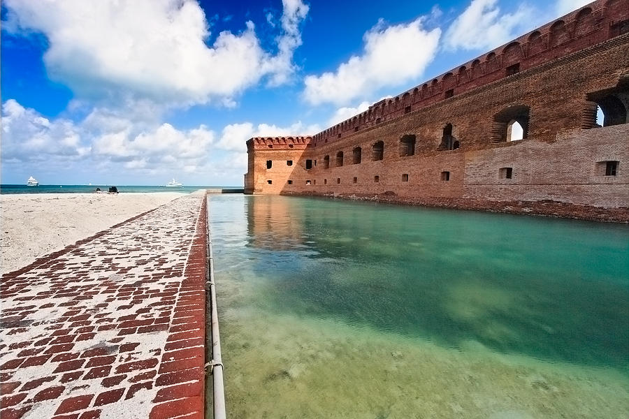 Dry Tortugas Photograph - Moat And Walls Of Fort Jefferson by George Oze