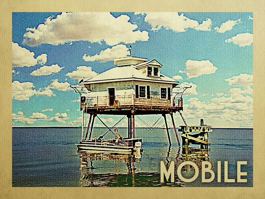 Mobile Digital Art - Mobile Alabama Travel Poster by Flo Karp