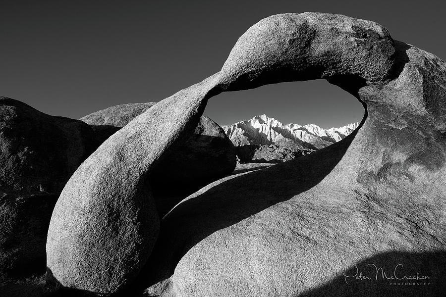 Death Valley Photograph - Mobius Arch Black And White by Peter McCracken