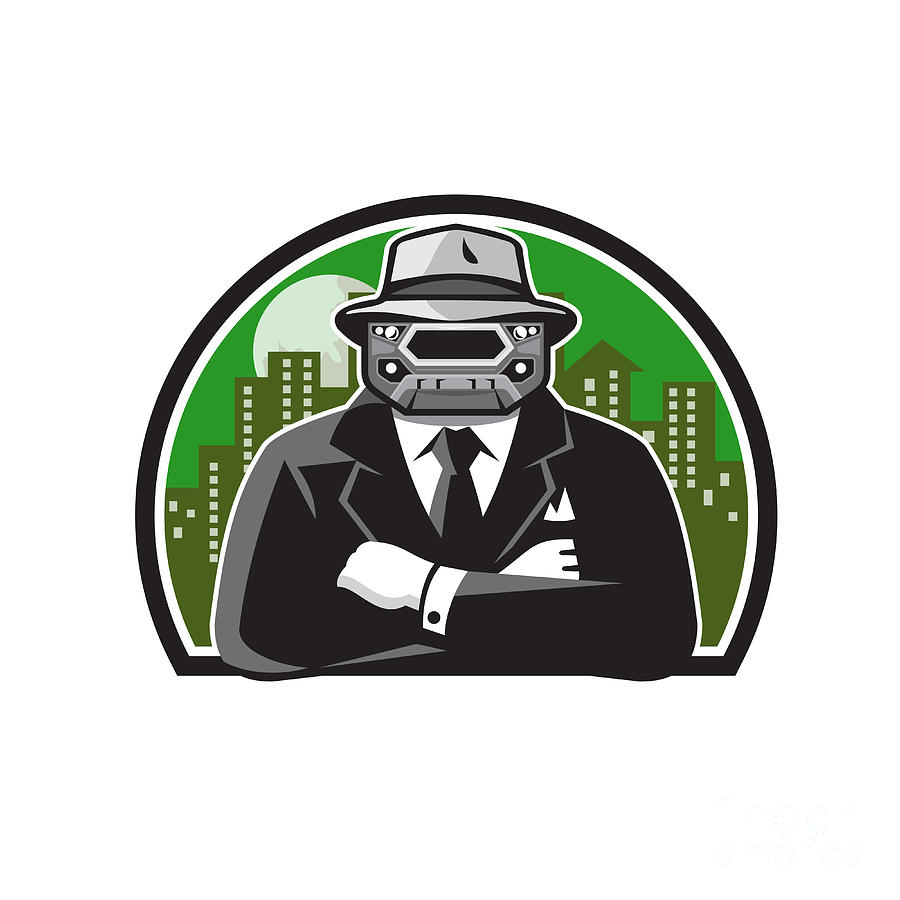 Mobster Digital Art - Mobster Car Grille Face Circle Retro by Aloysius Patrimonio