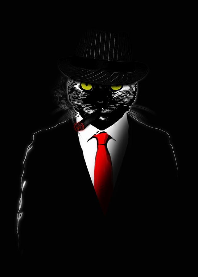 Mobster Digital Art - Mobster Cat by Nicklas Gustafsson