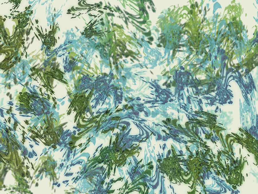 Mock Floral Blue Green Abstract by Kristin Doner