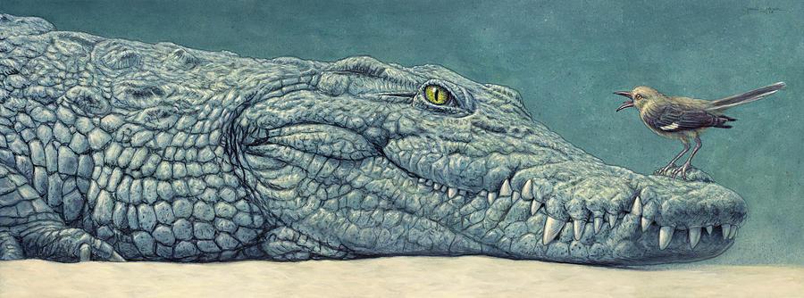 Crocodile Painting - Mockin a Croc by James W Johnson