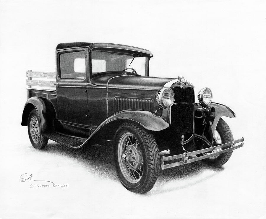 Ford Drawing - Model A by Christopher Bracken