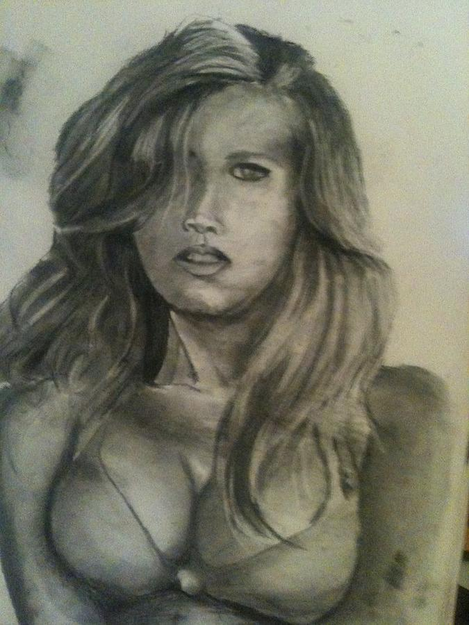 Pencil Drawing - Model From Sports Illustrated by Jose  Lopez