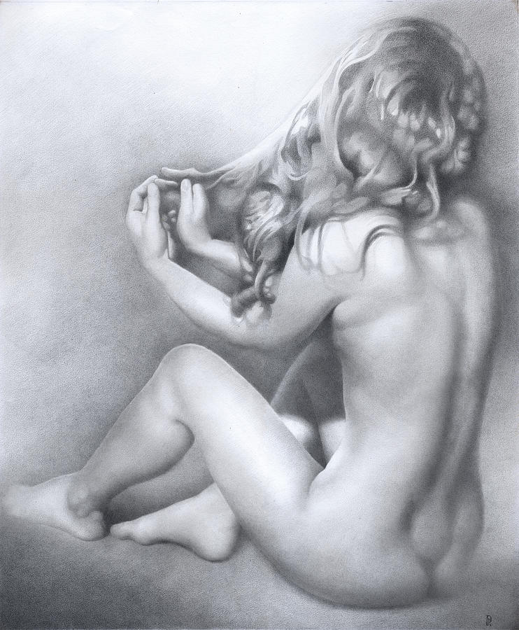 Pencil drawing of a women naked — img 10