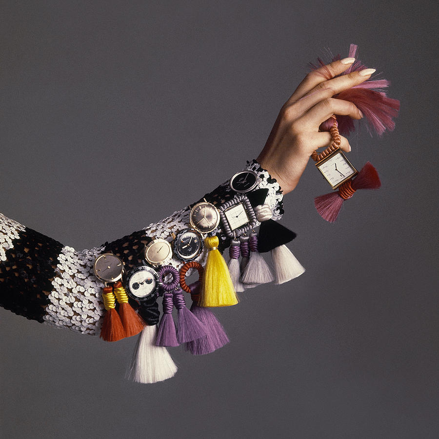 Model Sporting Wristwatches Photograph by Bert Stern