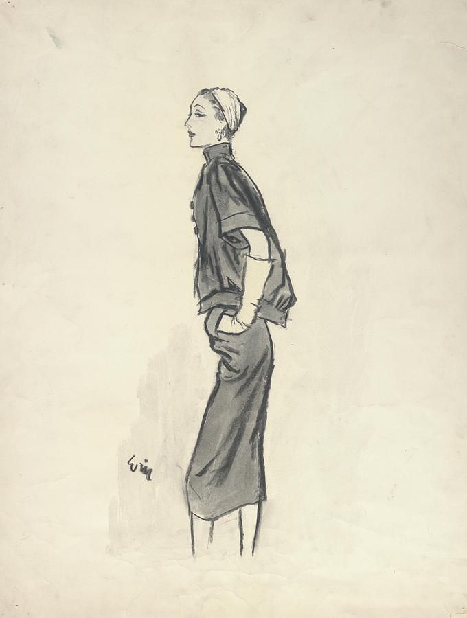 Model Wearing Givenchy Digital Art by Carl Oscar August Erickson