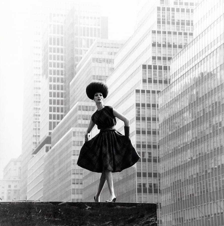 Model Wearing Lilly Dache Hat In New York City Photograph by Horst P Horst
