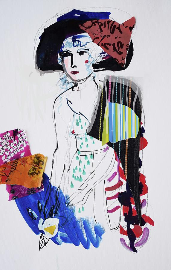 Drawing Painting - Model With Fashion Hat And Chawl by Amara Dacer