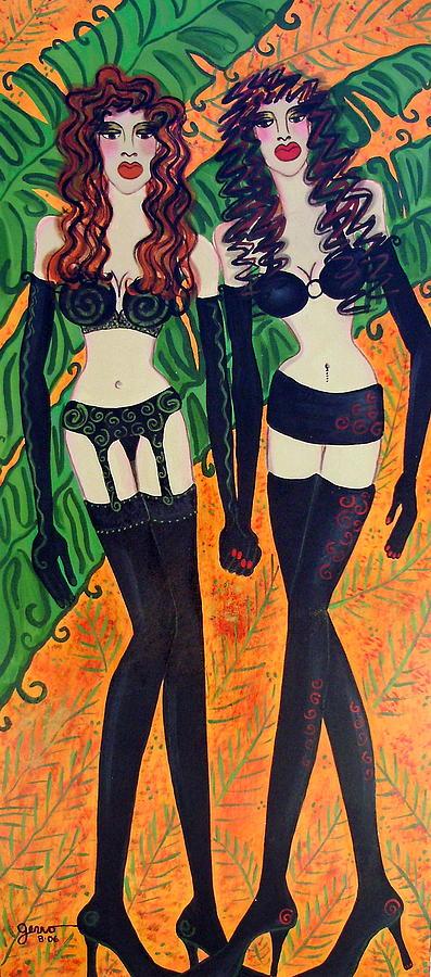 Models In Black Lingerie  Painting by Helen Gerro