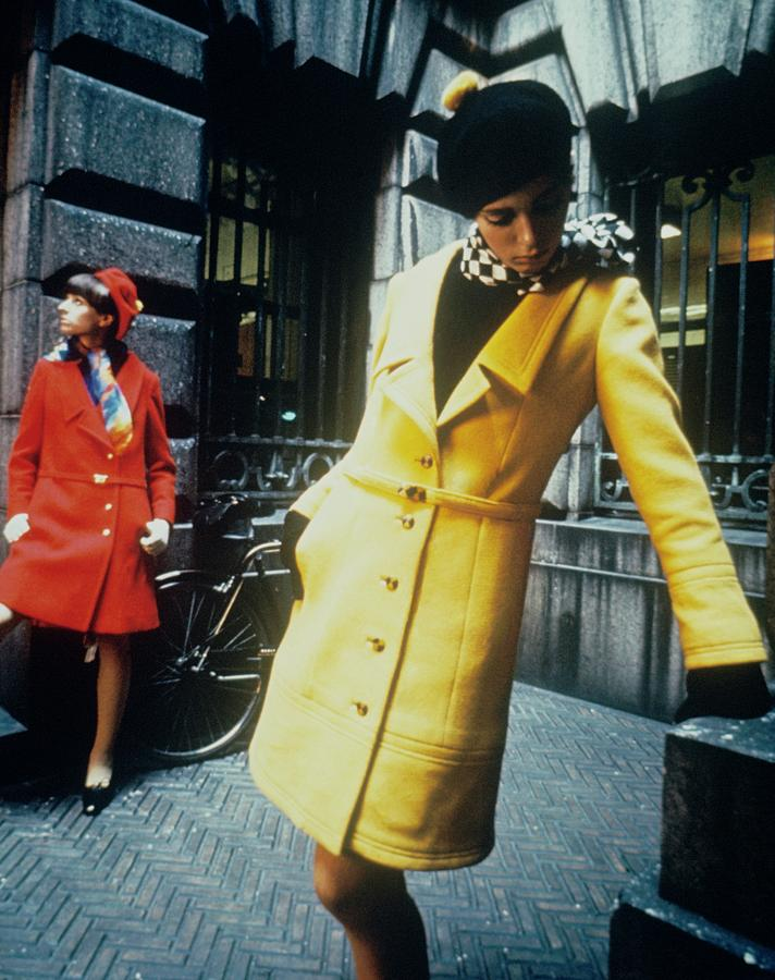 Accessories Photograph - Models In Colorful Coats by David McCabe