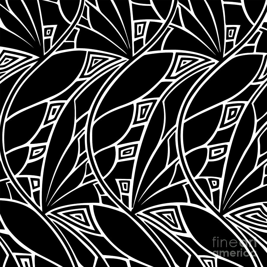 Abstract digital art modern art nouveau tessellations black and white by heidi de leeuw