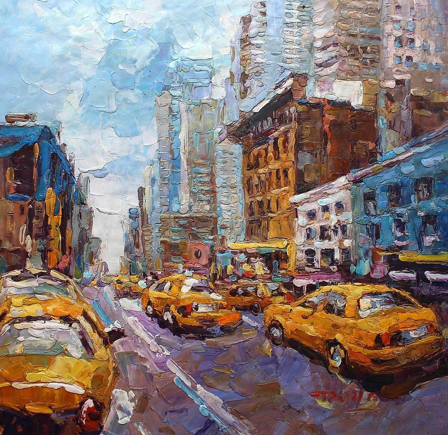 Acrylic Paint New York City Taxi Art