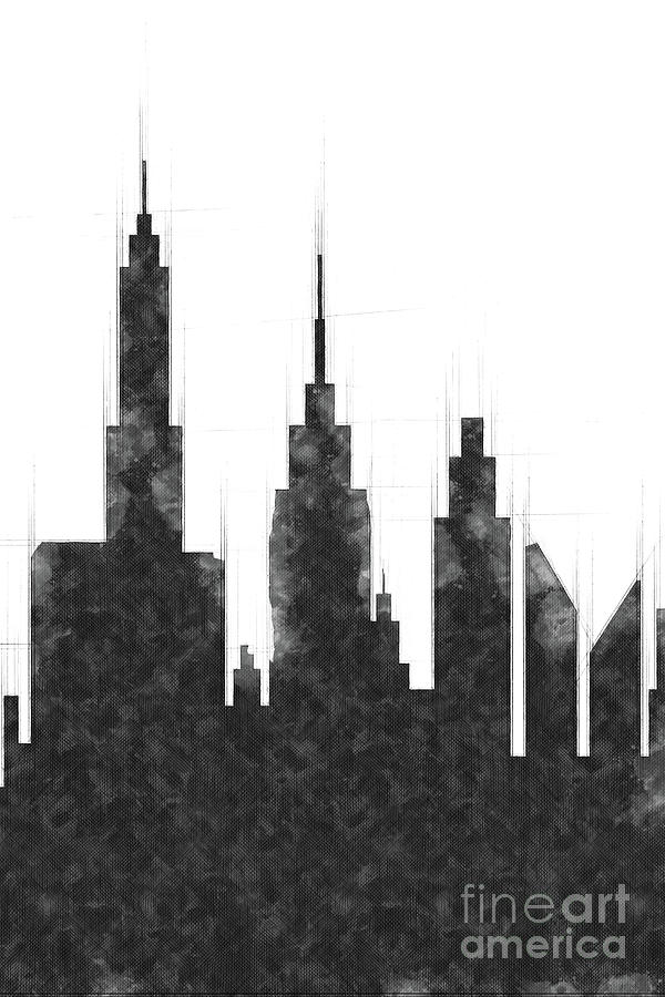 Modern City Buildings And Skyscrapers Sketch, New York Skyline, Wall ...