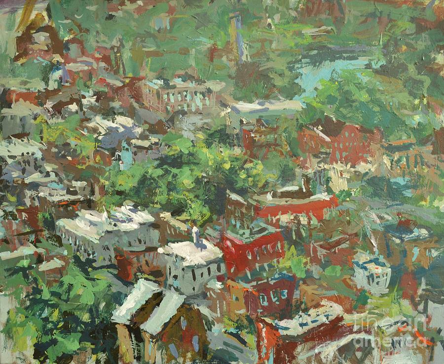 Artwork Painting - Modern Cityscape Painting Featuring Downtown Richmond Virginia by Robert Joyner