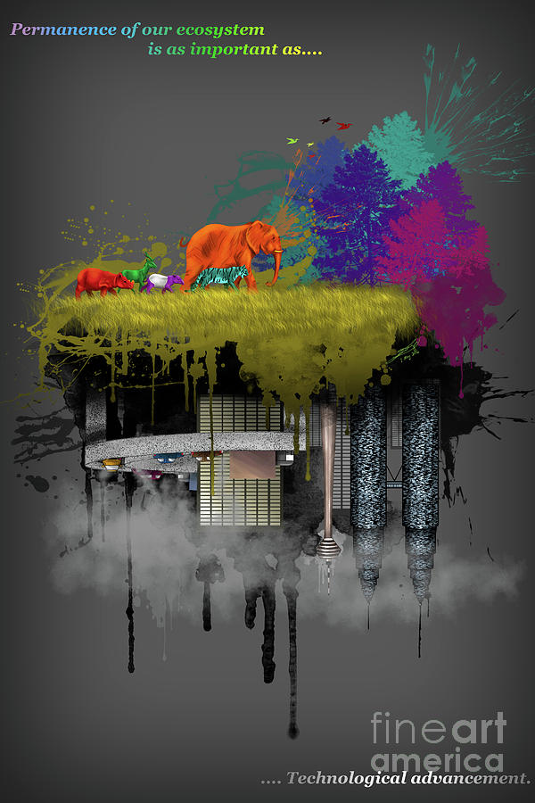 Animals Digital Art - Modern Conflict by Elise Wong