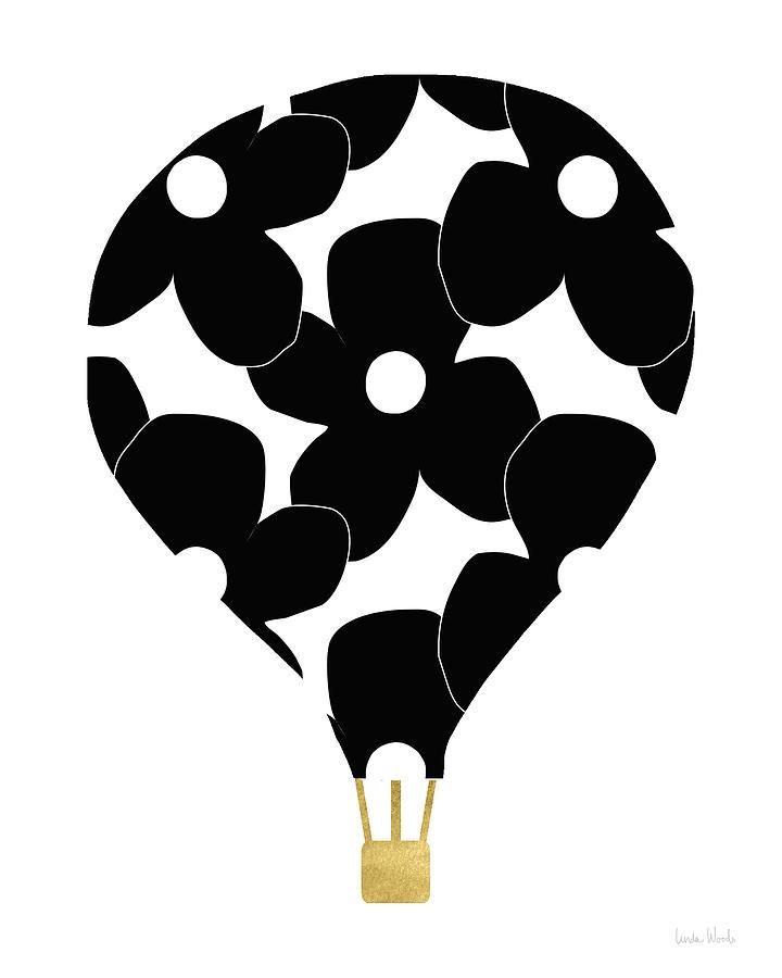 Hot Air Balloon Digital Art - Modern Floral Hot Air Balloon- Art By Linda Woods by Linda Woods