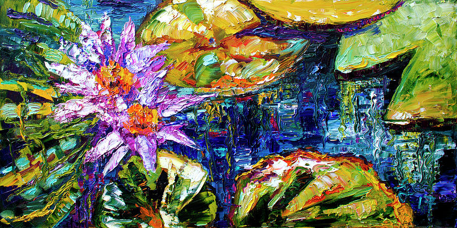 Modern Impressionist Lily Pond Reflections Painting by Ginette Callaway